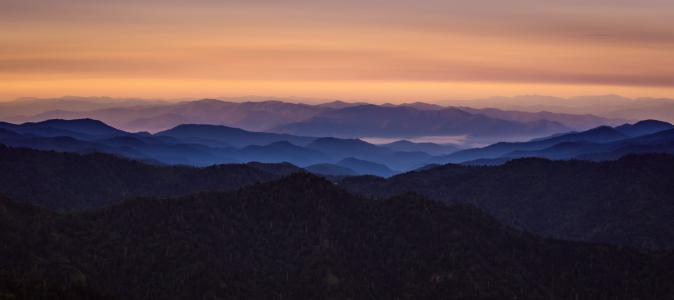 黎明, 雾, 景观, 山脉, 山脉, 自然, 全景