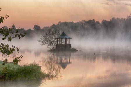 湖, 黎明, 水, 池塘, 宁静, 反思, 雾