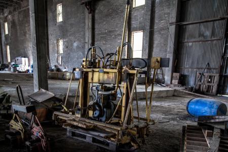 机械, 销毁, 废弃工厂, 空心, 生锈, 行业, 被遗弃