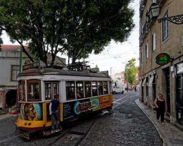 里斯本, 葡萄牙, 旧城, 电车, 道路, 街道