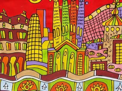 巴塞罗那, 绘图, 房屋, 艺术, 多彩, 建筑, 矢量