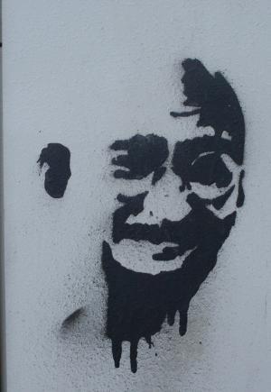 涂鸦, 甘地, 喷雾, 电源盒, 脸上
