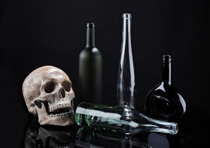 头骨, 骨架, 瓶, 对比, 组成