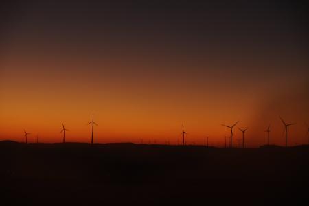 剪影, 风车, 橙色, 环境, 风车, 替代能源, 风力发电机组
