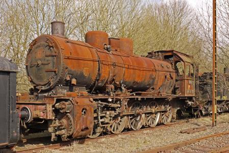 lokfriedhof, 关闭, 残骸, 腐蚀, 金属, 奥本, 蒸汽机车