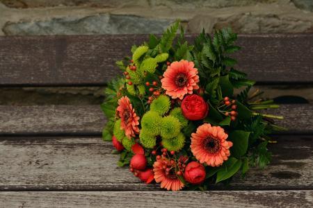 于秋花, 花束, 非洲菊, 秋天的色彩, 生日, 问候, 注意