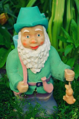 花园, gnome, 小矮人, 绿色, 猎人, 漫画, 铁青