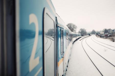 火车, 运输, 铁路, 跟踪, 树木, 车辆, 房屋