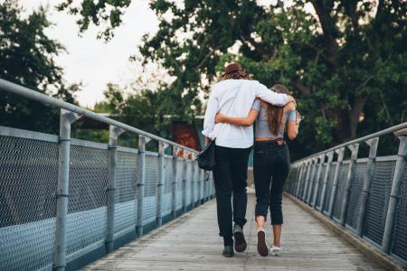 Couple Walk & Hug