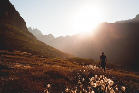山脉, 人, 行走, 山, 徒步旅行, 自然, 户外