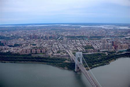 乔治华盛顿大桥, 纽约城, 城市, 桥梁, 河, 哈德逊, 暂停