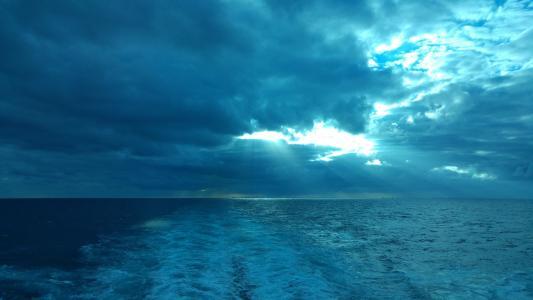 邮轮, 醒来, 蓝色, 云计算, 加勒比海, 海, 水
