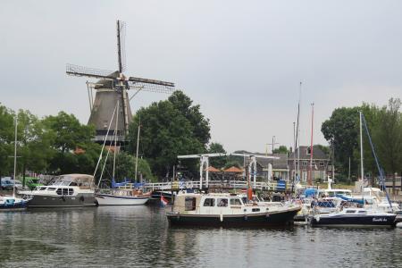 荷兰, 端口, 风车, 船舶, 假日, 水, 荷兰