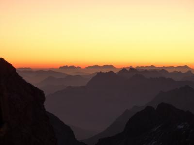 山脉, morgenrot, 高山全景, 日出, 高山, 景观, morgenstimmung