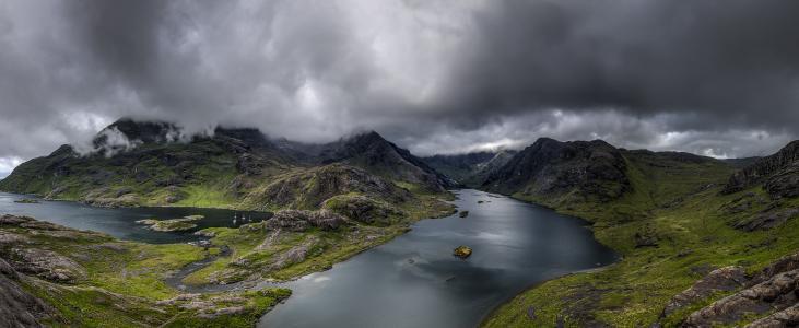 多云, 湖, 景观, 山, 户外, 全景, 风景名胜