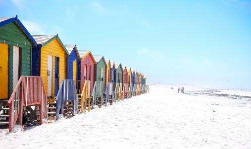 海滩, 多彩, 色彩缤纷, 立面, 房屋, 小屋, 景观