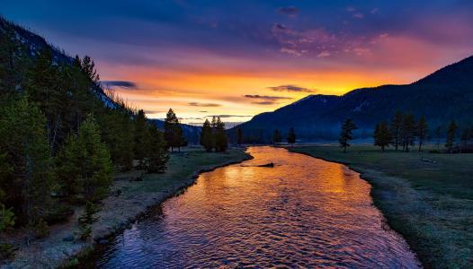 黄石国家公园, 日落, 暮光之城, 黄昏, 晚上, 剪影, 景观