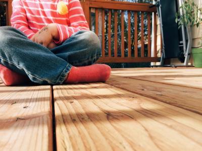 木材, 甲板上, 儿童, 孩子, 门廊, 后院