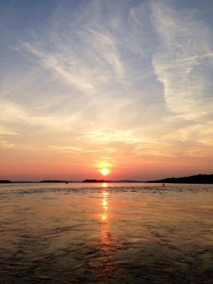 日落, 夏季, 海, 天空, 太阳, 海岸