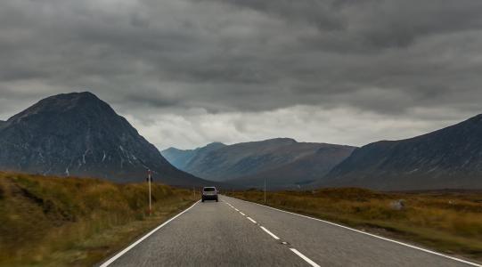 苏格兰, 格伦科, 自然, 路径, 汽车, 山脉, 国家