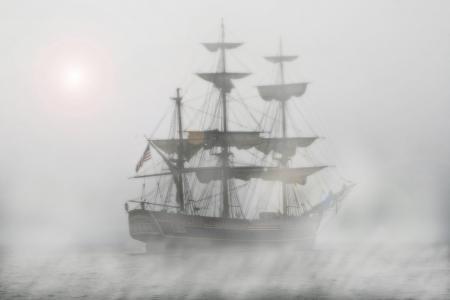 海盗, 航行中的船, 护卫舰, 船舶, 雾, 航程, 水