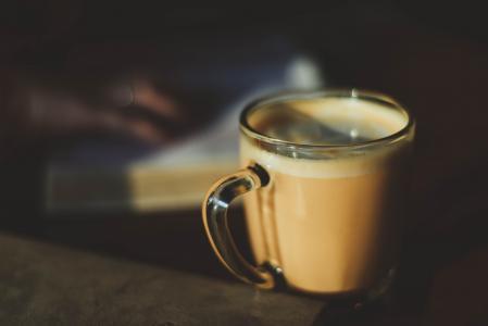 选择性, 焦点, 摄影, 玻璃, 杯子, 卡布奇诺咖啡, 咖啡