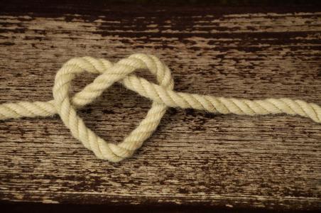 绳子, 帘线, 心, 爱, 友谊, 连通性, 忠诚