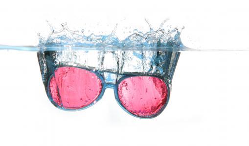眼镜, 水, 喷雾, 水表面, 跳水, 打击, 溢出