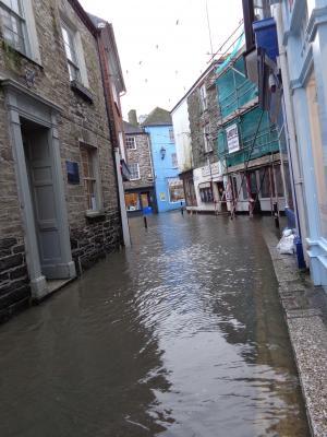 fowey, 村庄, 康沃尔郡, 街道, 道路, 缩小, 洪水