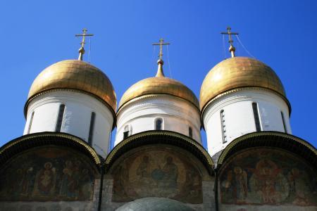 大教堂, 俄语, 东正教, 三白色塔, 洋葱式圆顶, 金, 俄罗斯