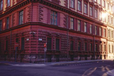 建设, 街道, 日落, 布达佩斯