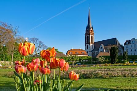 王子 georgs 花园, 达姆施塔特, 黑森, 德国, 花园, 春天, 感兴趣的地方