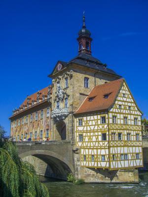 班贝格, 大会堂, fachwerkhaus, 桥梁, 德国, 海岛市政厅, 巴伐利亚
