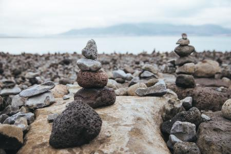 Stone Sculptures On Beach