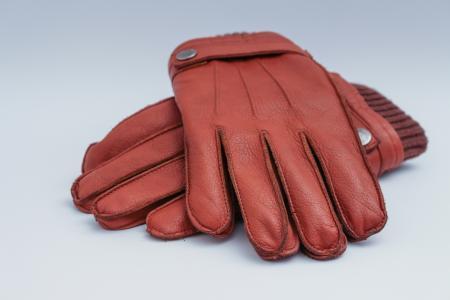 男士皮手套, 棕色, 服装