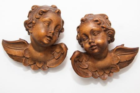 天使, 小天使, 雕塑, 图, 翼, 木材, 雕刻