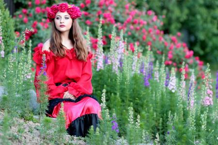 女孩, 花, 花环, 玫瑰, 红色, 美, 妇女