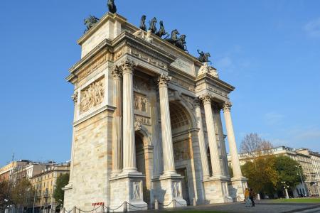 意大利, 米兰, 森公园, 凯旋之, 和平之拱, 城市, 拿破仑