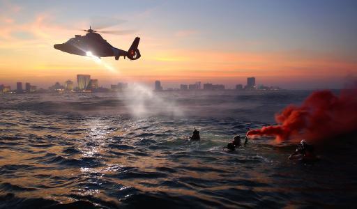 直升机, 海岸警卫队, 救援培训, 锻炼, 海, 水, 游泳
