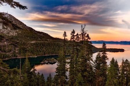 太浩湖, 加利福尼亚州, 翡翠湾, 水, 几点思考, 天空, 云彩