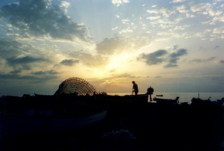 渔夫, 黎明, 海, 天空, 云彩, 西西里岛, 云的形式
