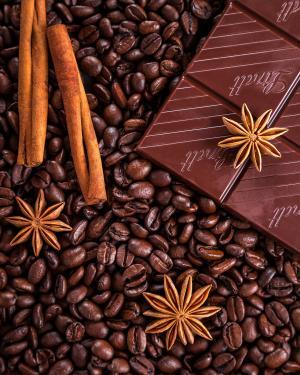 咖啡, 巧克力, 肉桂, 茴香, 八角茴香, 粮食, 特写