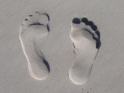 沙子, 转载, 双脚, 鞋底, 十, 印象, 海滩