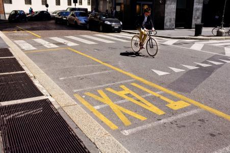 直线出租车, 的标记, 道路, 自行车, 米兰, 意大利
