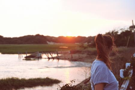 日落, 设置, 太阳, 湖, 水, 发光, 湖滨区