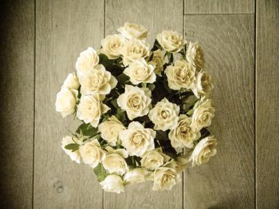 玫瑰, 束玫瑰花, 花束, 白色, 黄色, 顶视图, 浪漫