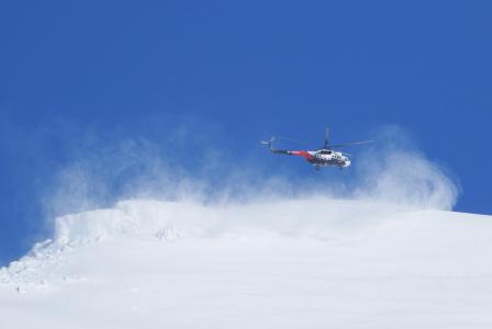 直升机, 着陆, 山脉, 旋涡, 冬天, 雪, 斜坡