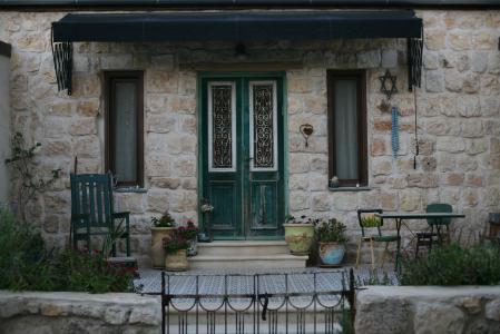 照片, 绿色, 灰色, 花香, 木制, 门, 建设