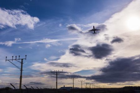 马拉加机场, 毕加索, 黎明, 飞机, 脱掉, 起飞, 蓝色