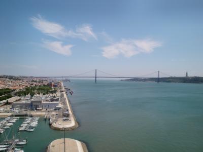 桥梁, 里斯本, 悬索桥, 建筑, 全景, 安静, 前景